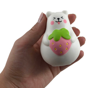 IBloom Mini Marshmallow Bear Squishy pink strawberry tongue version front view held in hand