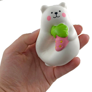 IBloom Mini Marshmallow Bear Squishy Red strawberry version front view held in hand being squished