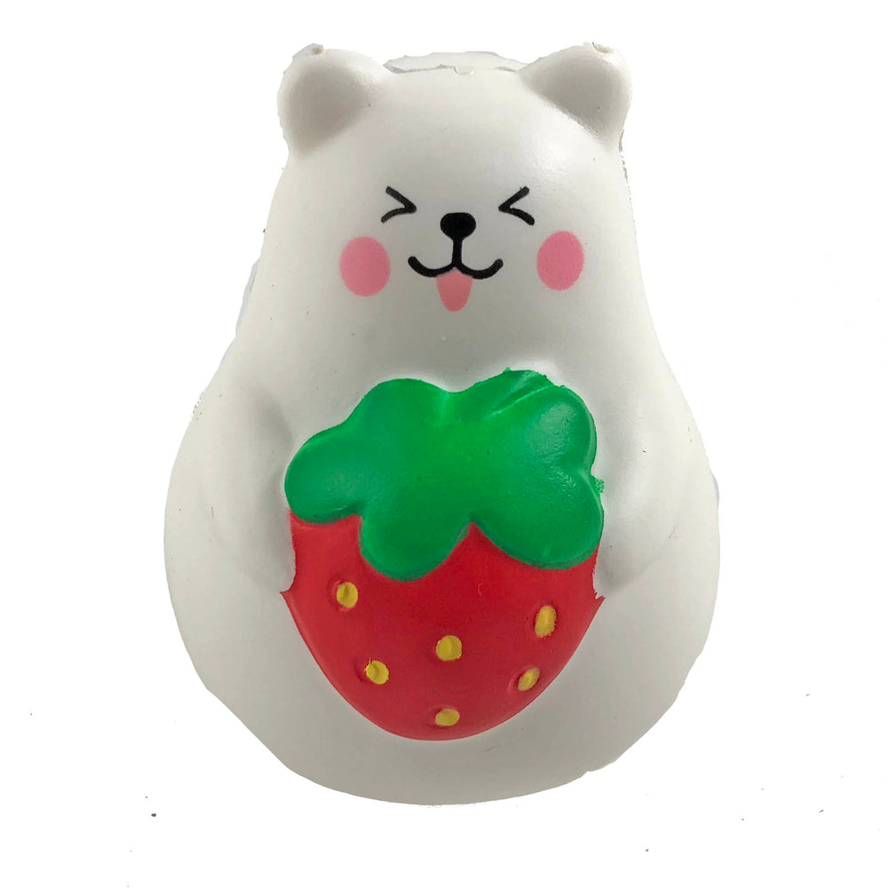 IBloom Mini Marshmallow Bear Squishy Red strawberry tongue version front view