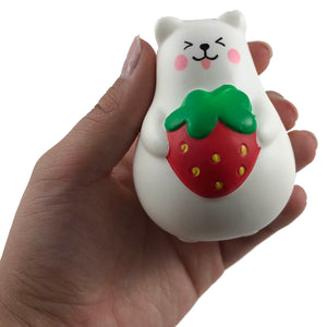 IBloom Mini Marshmallow Bear Squishy Red strawberry tongue version front view held in hand
