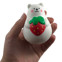 IBloom Mini Marshmallow Bear Squishy Red strawberry version front view held in hand