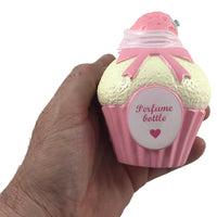 Cafe De N Elegance Squishy by NIC Perfume Bottle Cake Yellow front view held in hand