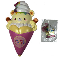 Creamiicandy Yummii Crepe Squishy rainbow version front view with tag