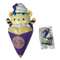 Creamiicandy Yummii Crepe Squishy blueberry version front view with tag
