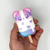 iBloom Harajuku Bear Ice Candy Squishy galaxy version front view held in hand