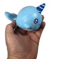 iBloom Millie the Whale Sparkling Eyes Squishy Billie Version side view held in hand