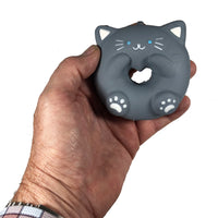 Cafe Sakura Cat Donut Squishy gray cat front view held in hand