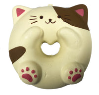 Cafe Sakura Cat Donut Squishy brown and white cat front view