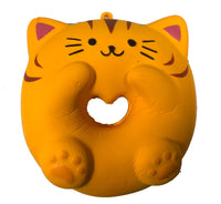 Cafe Sakura Cat Donut Squishy brown cat front view