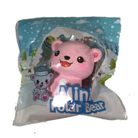 Puni Maru's Mini Happy Polar Bear Squishy Pink Open Mouth Version front view in packaging
