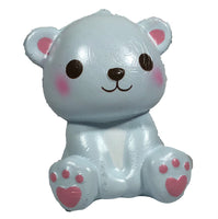 Puni Maru's Mini Happy Polar Bear Squishy Blue Smile Version front view