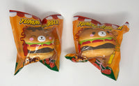 Big Yummiiburger Squishy both versions front view in packaging