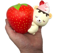 Creamiicandy Yummibear Hug Strawberry Squishy front view held in hand