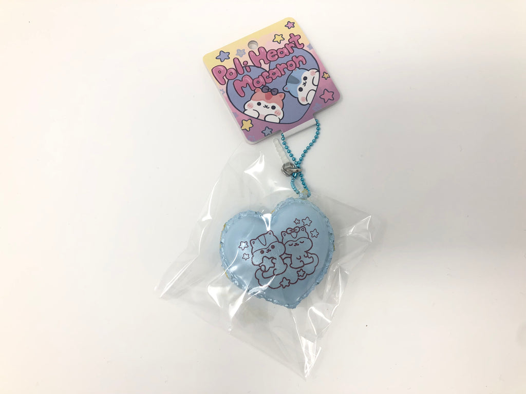Poli Pastel Blue and Pink Heart Macaron Squishy