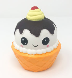 Ice Cream Sundae Squishy with a Smiling Face front view
