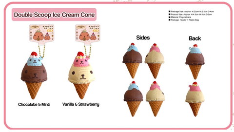 Kapibarasan Cafe Series Double Scoop Ice Cream Cone Squishy