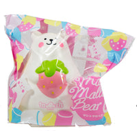 IBloom Marshmallow Bear Squishy front view of Pink Strawberry in packaging