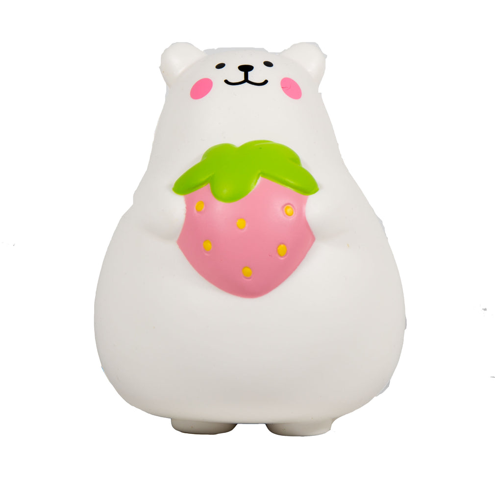 IBloom Marshmallow Bear Squishy front view of Pink Strawberry front view