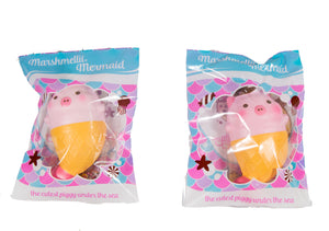 Creamiicandy Mermaid Marshmelli Piggie in packaging both versions front view in packaging