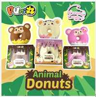 Puni Maru Animal Donut Squishy Featuring Cheeki, Cheeka and Yummiibear