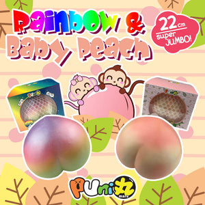 Puni Maru Super Jumbo Rainbow and Baby Peach Squishy Puni Maru Add
