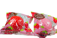 New ibloom Super Jumbo Strawberry Squishy both colors in ibloom packaging