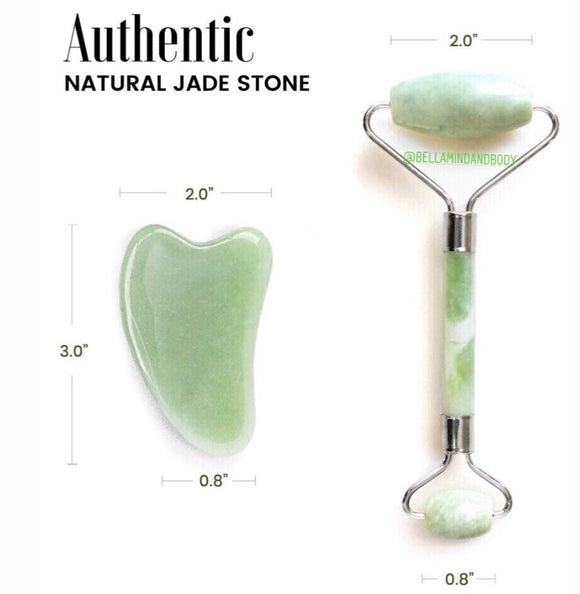 Jade Roller + Gua Sha Facial Massage Set