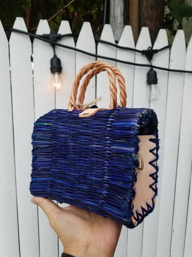 Small bag with leather strap blue