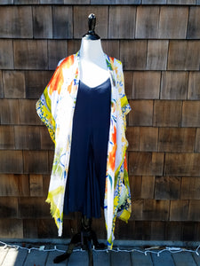 Yellow and Orange flower Kimono