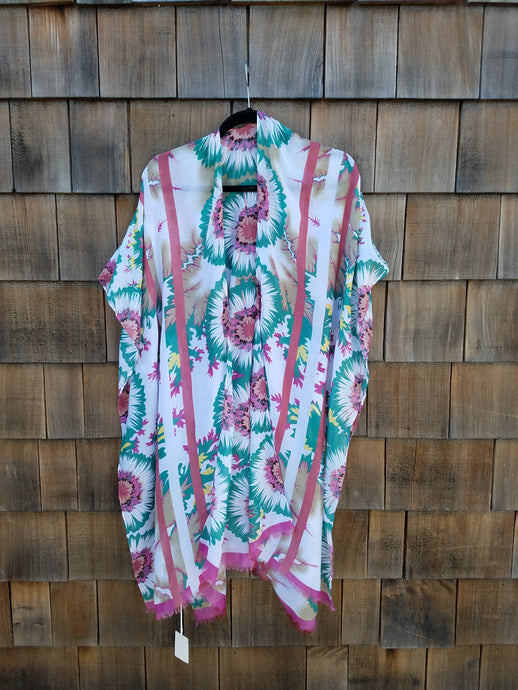 Pink and Green flower Kimono