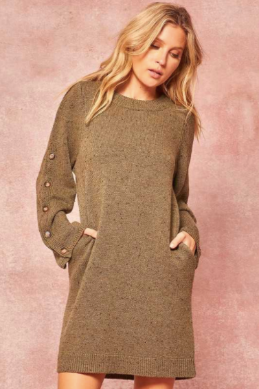 Speckled knit sweater dress