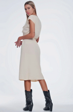 Load image into Gallery viewer, Beige Dress with Knotted Waist