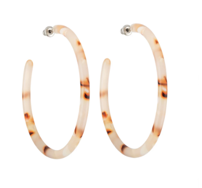 large hoop earrings blush tortoise