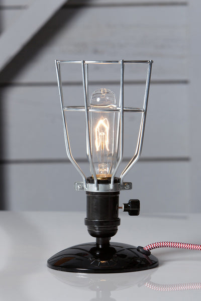 Industrial Wire Cage Desk Lamp - Vintage Style Light - Industrial Light Electric - 1