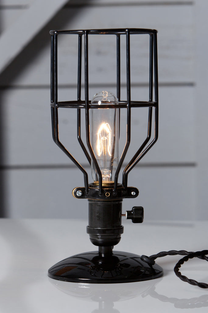Industrial Desk Lamp   Black Wire Cage Table Light