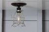 Vintage Metal Cage Light - Ceiling Mount - Industrial Light Electric - 4