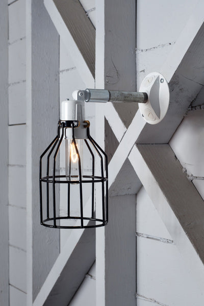 Industrial Wall Light- Outdoor Black Wire Cage Light - Industrial Light Electric - 1