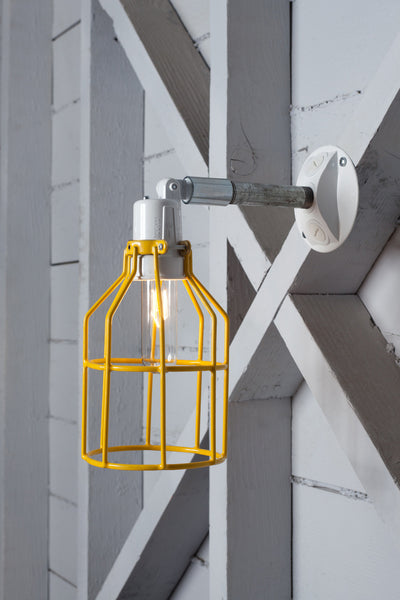 Yellow Cage Light - Exterior Wall Mount Sconce - Industrial Light Electric - 1