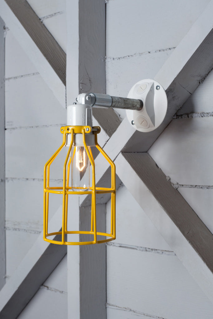 Yellow Cage Light Exterior Wall Mount Sconce