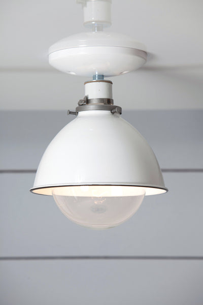 White Metal Shade Light Semi Flush Mount Lamp Industrial Light Electric