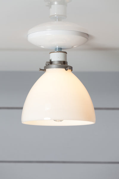 Milk Glass Shade Light - Ceiling Mount lamp - Semi Flush Mount - Industrial Light Electric - 1