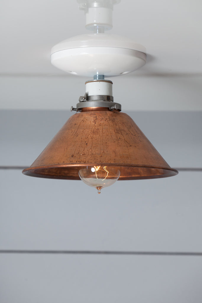 Copper Metal Shade Light Semi Flush Mount Lamp