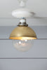 Semi Flush Mount Brass Shade Ceiling Light