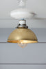 Brass and White Ceiling Mount Shade Light