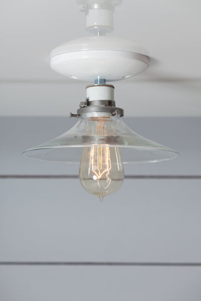 Flat Glass Shade Light - Industrial Ceiling Mount Lamp - Semi Flush Mount - Industrial Light Electric - 1
