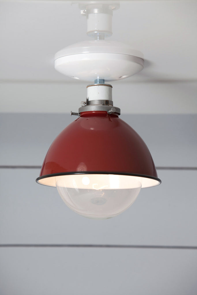 Red Metal Shade Light - Semi Flush Mount Lamp - Industrial Light Electric - 1