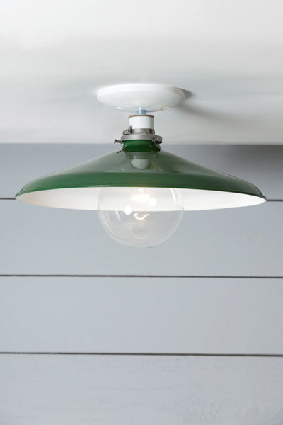 Industrial Ceiling Mount light - 14in Green Metal Shade Lamp - Semi Flush Mount - Industrial Light Electric - 1