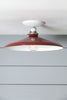 Industrial Ceiling Mount light - 14in Red Metal Shade Lamp - Semi Flush Mount - Industrial Light Electric - 2