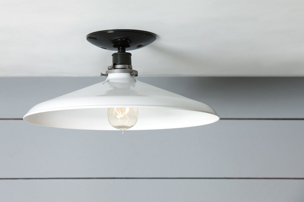 Industrial Ceiling Mount Light 14in White Metal Shade