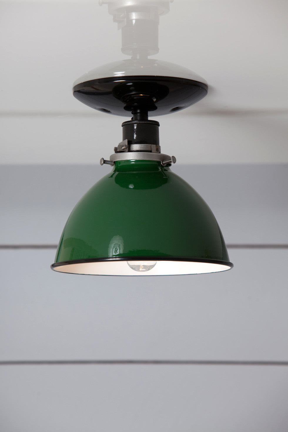 Green metal shade light semi flush mount lamp industrial light green metal shade light semi flush mount lamp mozeypictures Image collections